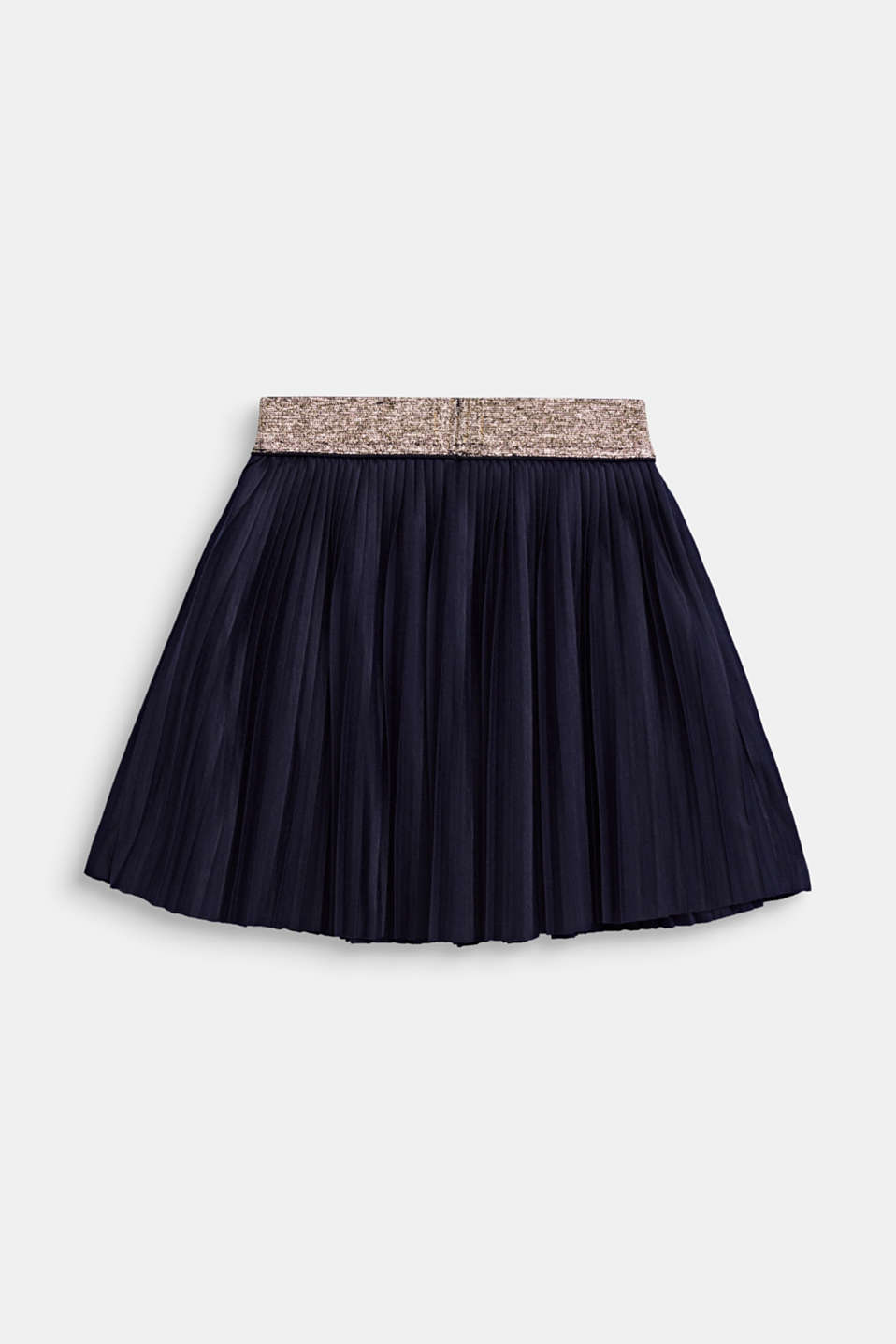 Pleated jersey skirt with an elasticated waistband, NIGHT BLUE, detail image number 1