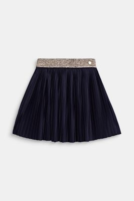 Pleated jersey skirt with an elasticated waistband, NIGHT BLUE, detail