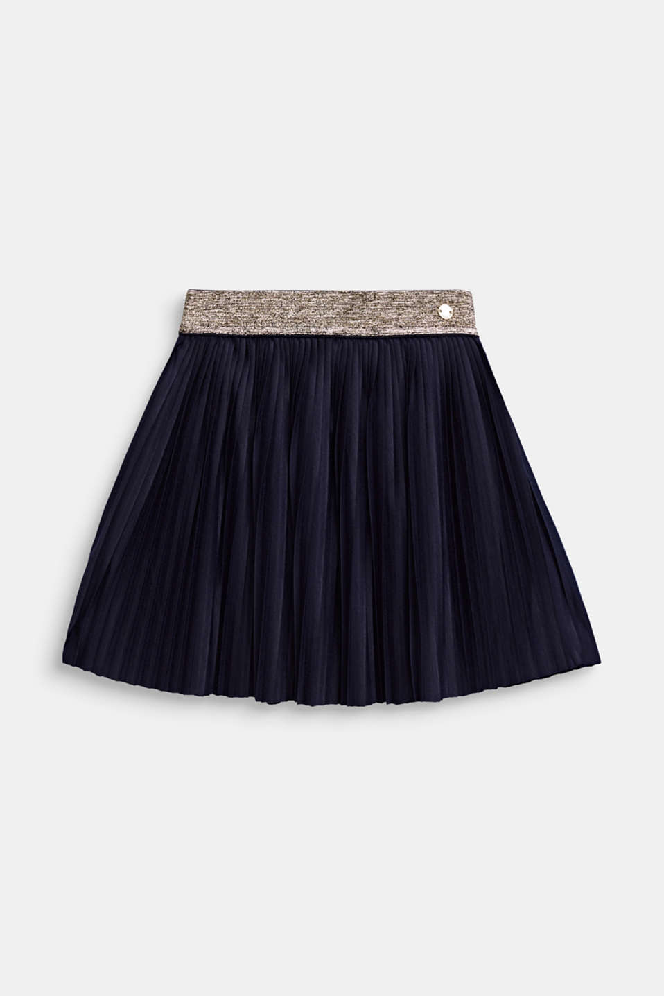 Pleated jersey skirt with an elasticated waistband, NIGHT BLUE, detail image number 0