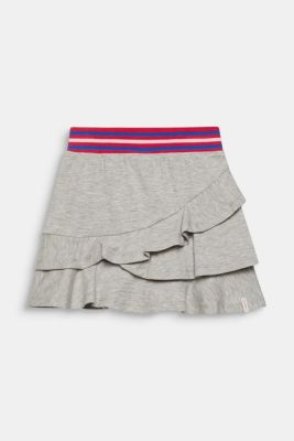 Tiered skirt made of melange stretch jersey, HEATHER SILVER, detail