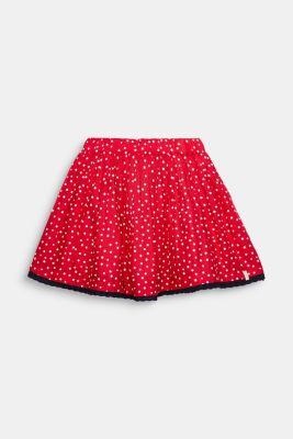 Polka dot skirt with lace and tulle, RASPBERRY, detail