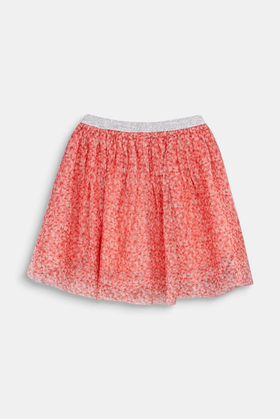 Mesh skirt with a glittering waistband, CORAL, detail image number 2
