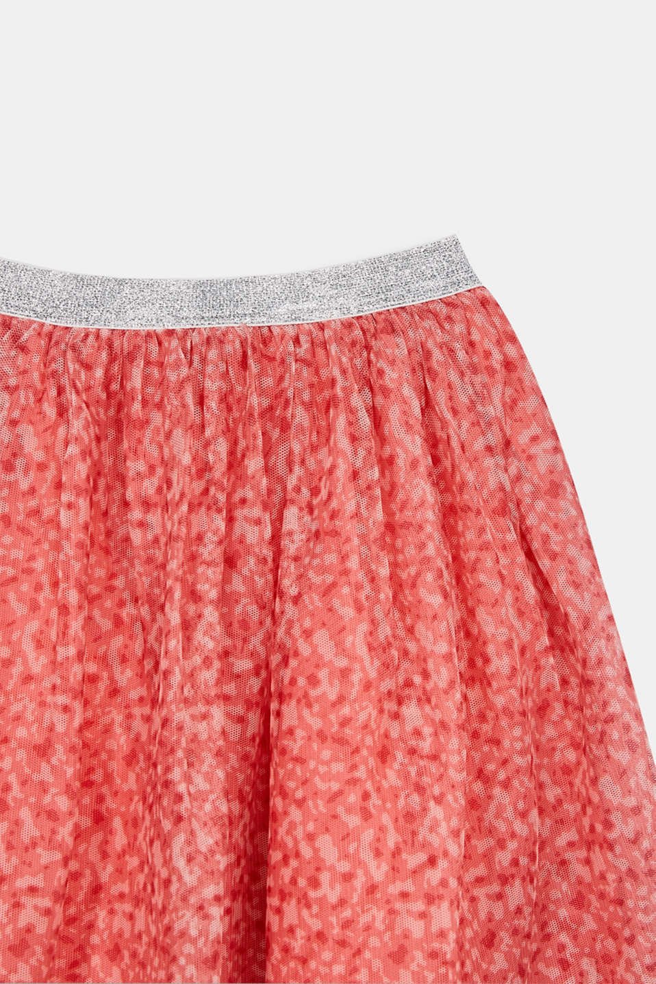 Mesh skirt with a glittering waistband, CORAL, detail image number 1