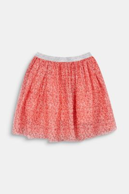 Mesh skirt with a glittering waistband, CORAL, detail