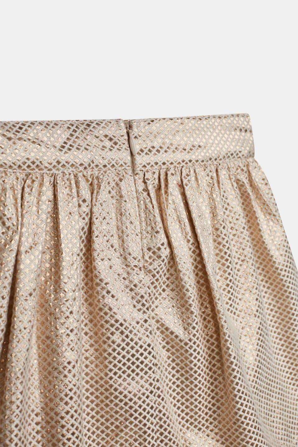 A-line gold jacquard skirt, LIGHT GOLD, detail image number 1