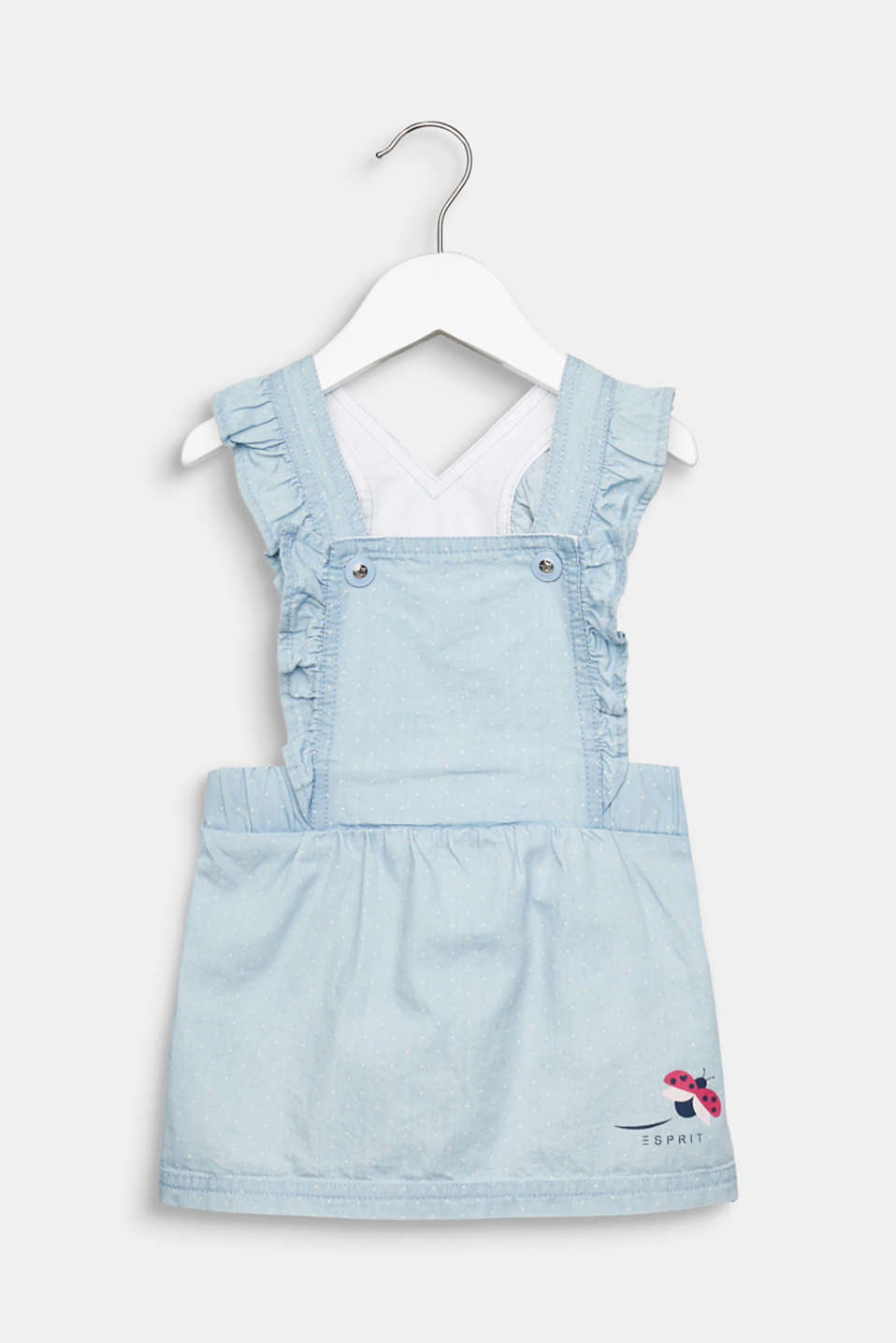 Esprit - Denim pinafore dress, 100% cotton