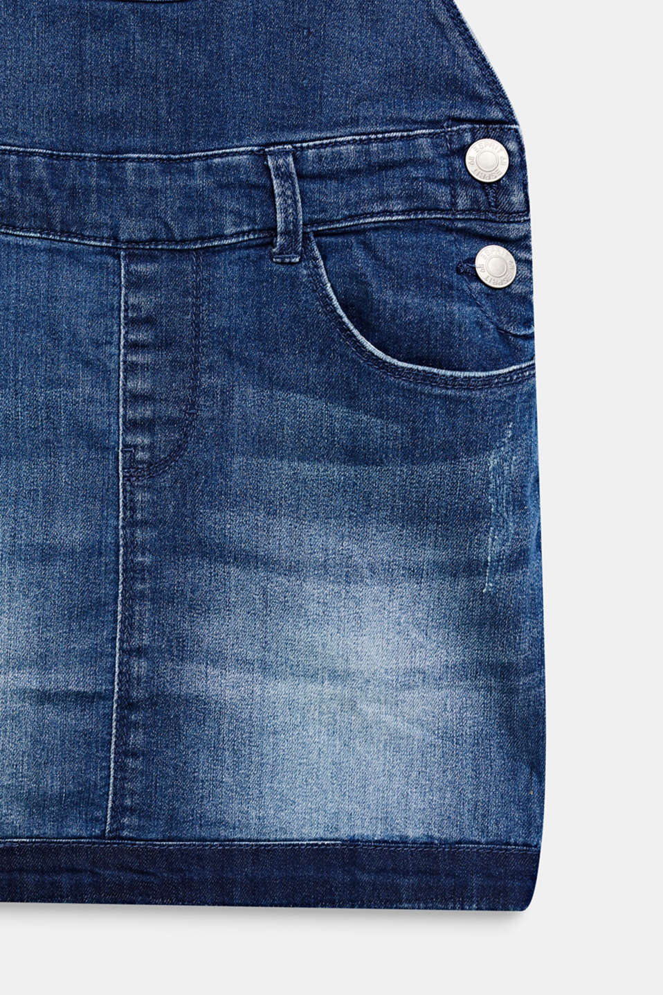 Stretch denim dungaree skirt, LCMEDIUM WASH DE, detail image number 3
