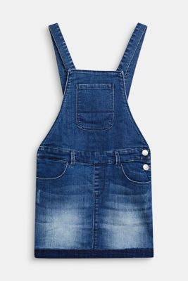 Stretch denim dungaree skirt, MEDIUM WASH DE, detail