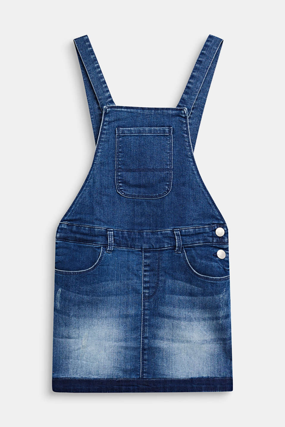 Stretch denim dungaree skirt, LCMEDIUM WASH DE, detail image number 0