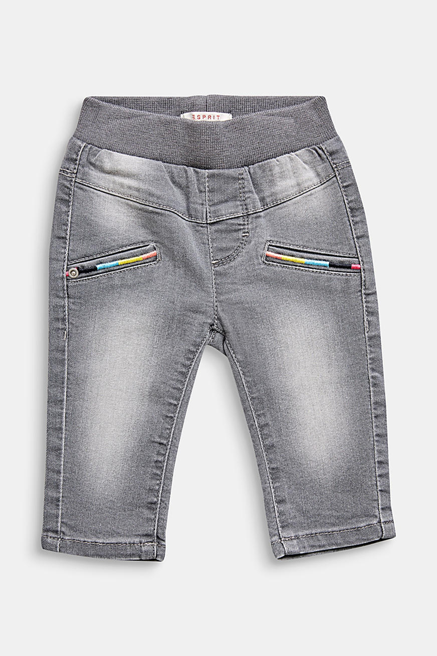Stretch-Jeans mit bunter Stickerei