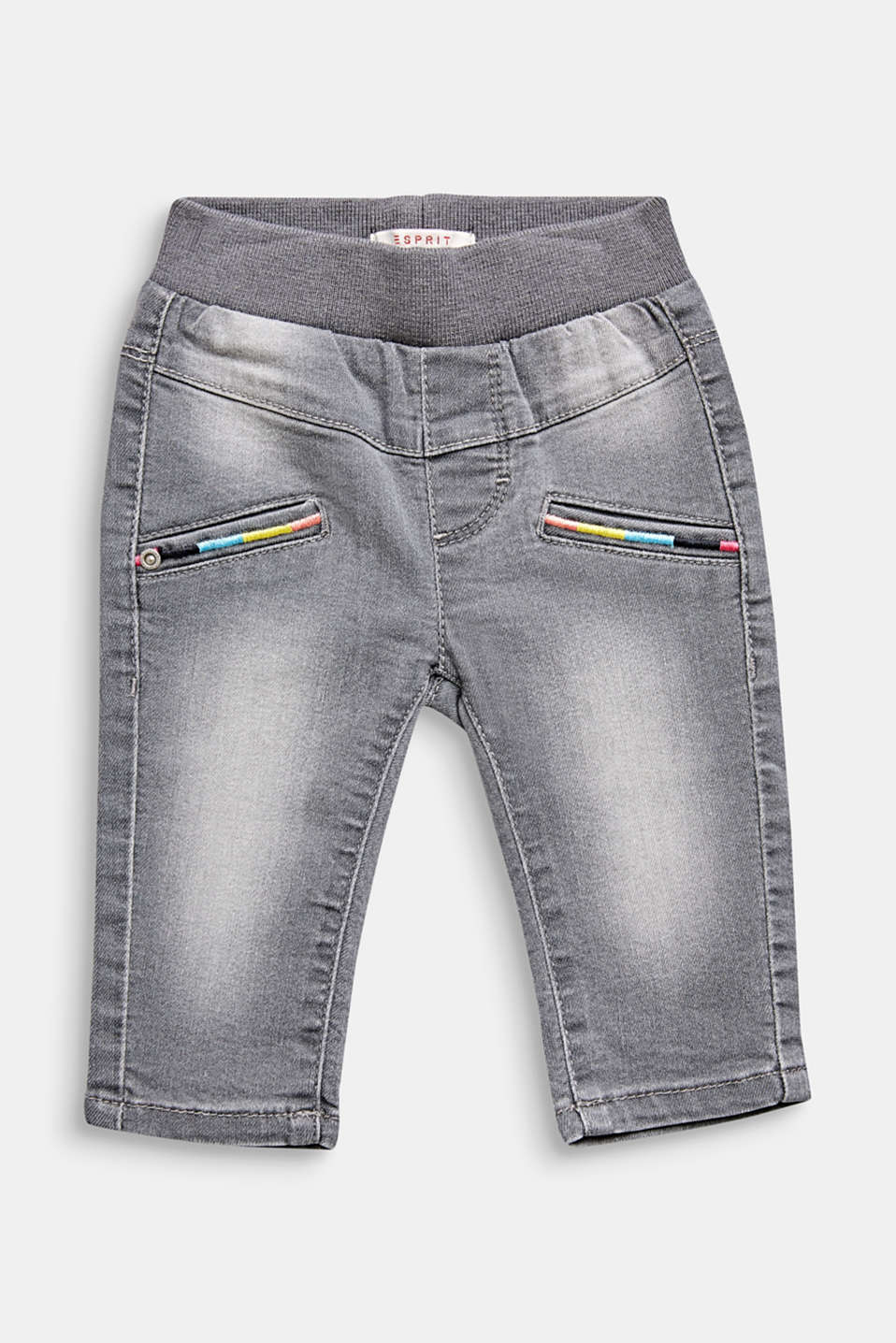 Stretch jeans with colourful embroidery, LCGREY LIGHT WAS, detail image number 0