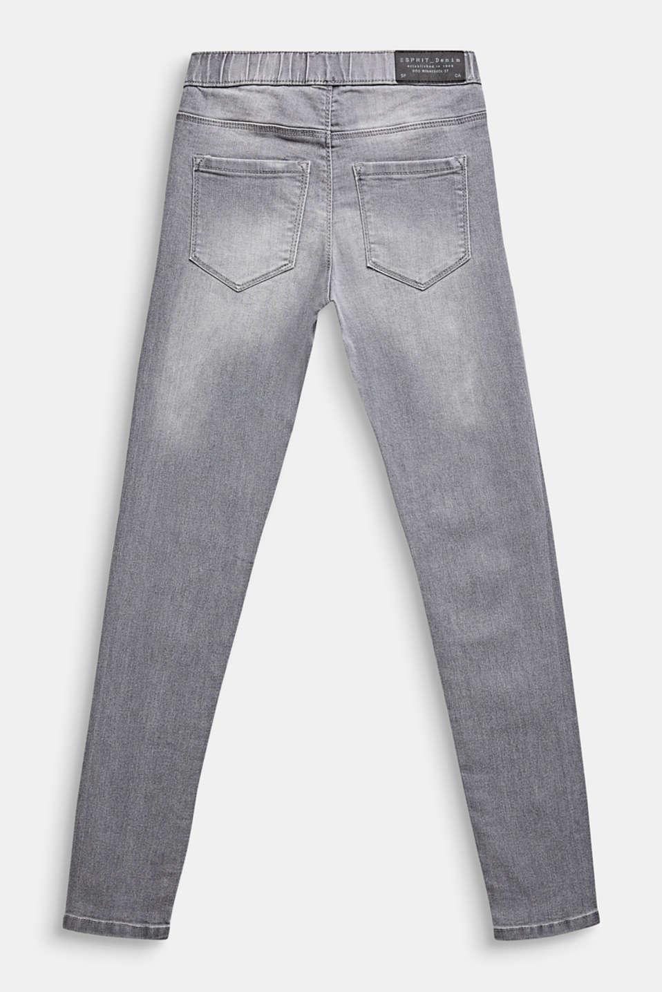 Garment-washed grey jeggings, LCGREY LIGHT WAS, detail image number 1