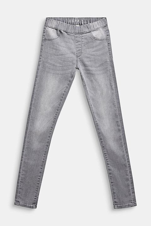 Garment-washed grey jeggings