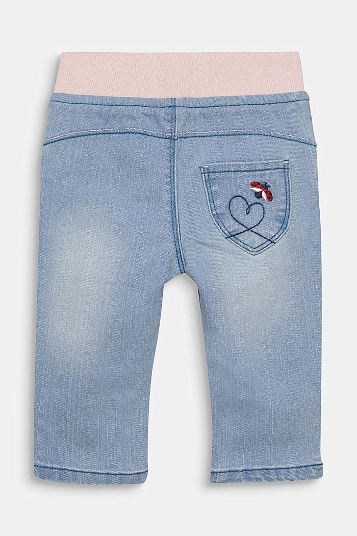 Jeans met ribboord en borduursel, LIGHT INDIGO, detail image number 1
