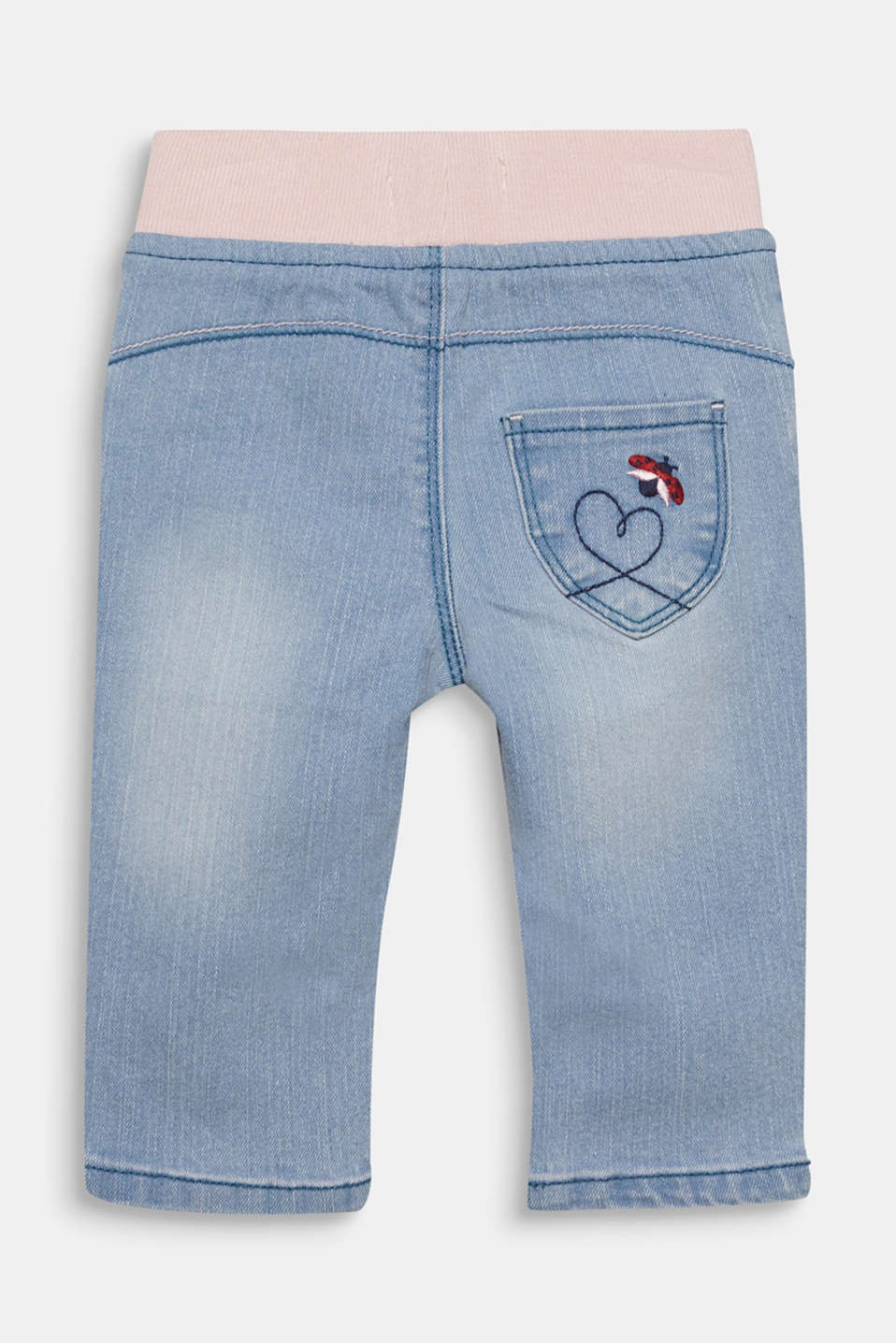 Jeans with a ribbed waistband and embroidery, LCLIGHT INDIGO D, detail image number 1