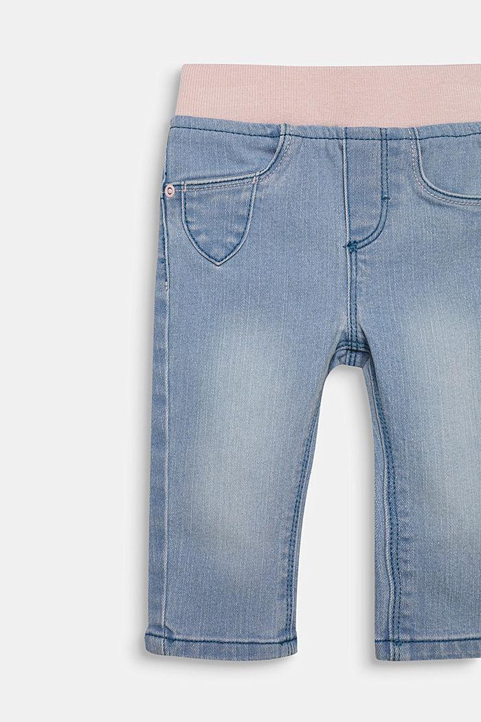Jeans met ribboord en borduursel, LIGHT INDIGO, detail image number 2