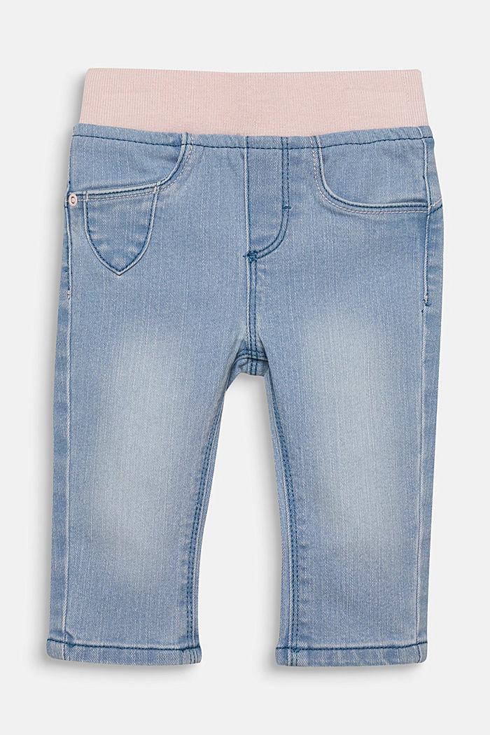 Jeans met ribboord en borduursel, LIGHT INDIGO, detail image number 0
