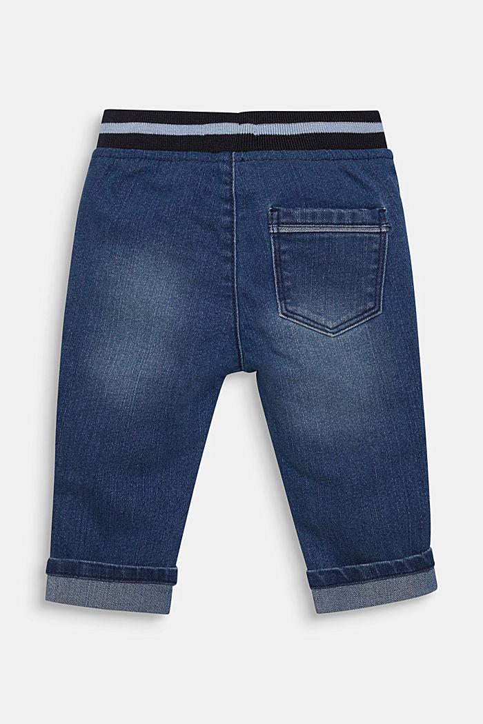 Jeans a con bordo elastico a coste in vita, MEDIUM WASHED DENIM, detail image number 1