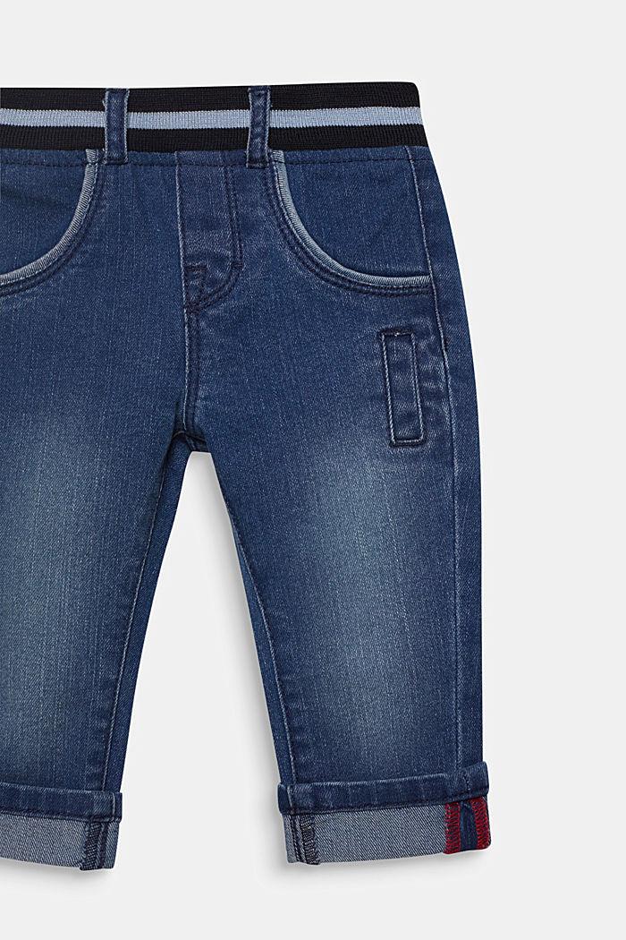 Jeans a con bordo elastico a coste in vita, MEDIUM WASHED DENIM, detail image number 2