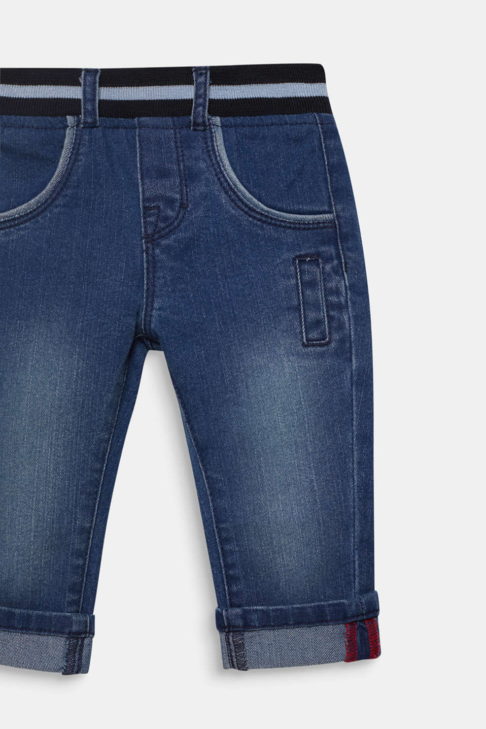 Jeans with an elasticated ribbed waistband, LCMEDIUM WASH DE, detail image number 2