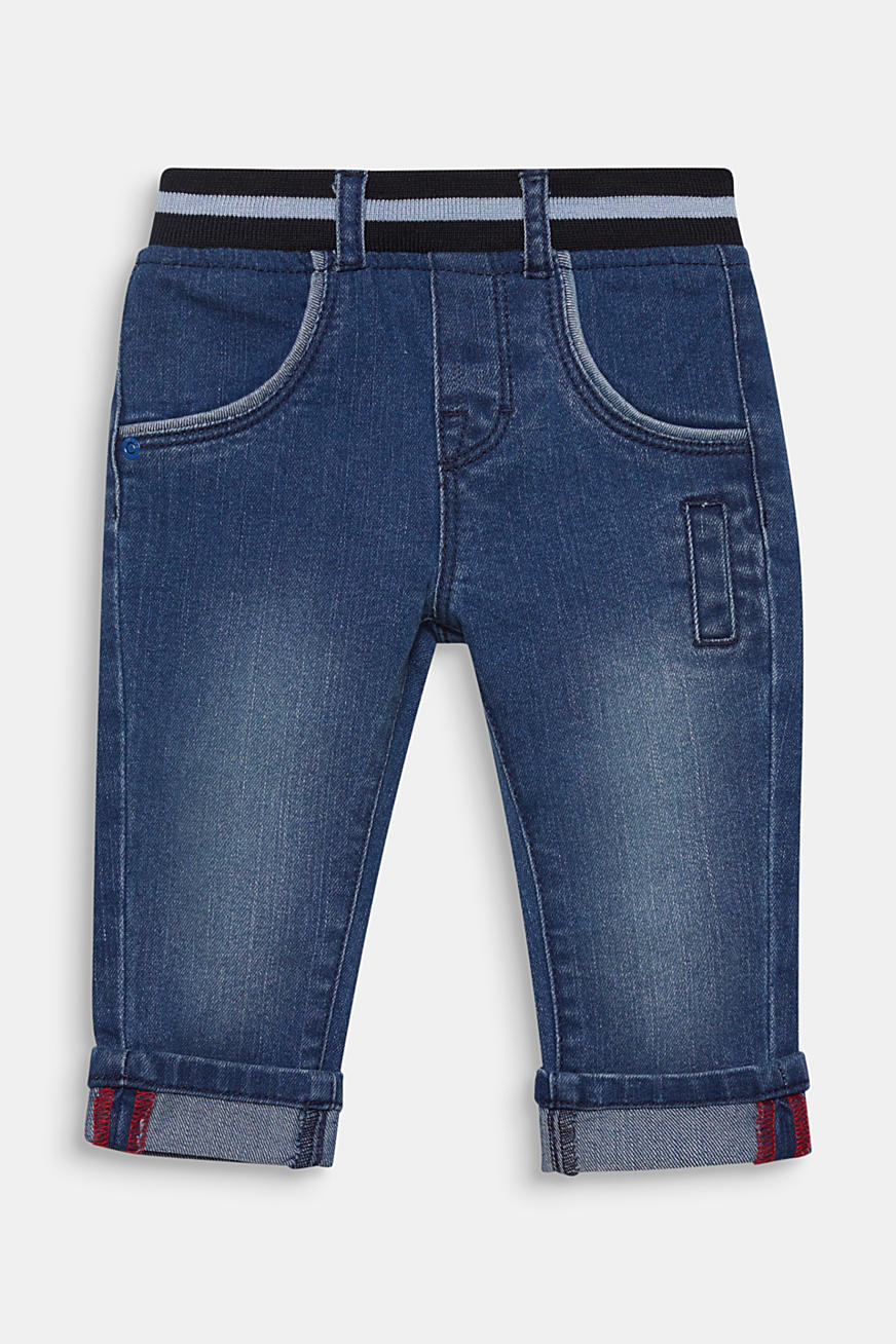 Jeans with an elasticated ribbed waistband