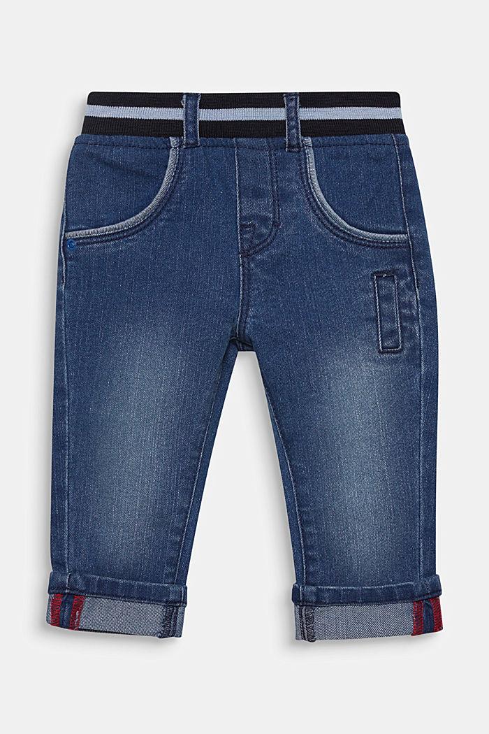 Jeans a con bordo elastico a coste in vita, MEDIUM WASHED DENIM, detail image number 0