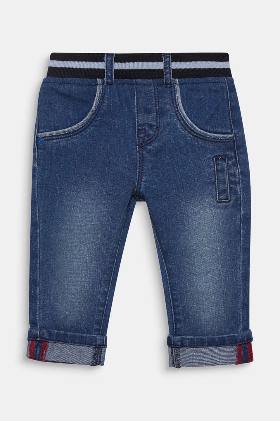 Jeans with an elasticated ribbed waistband, LCMEDIUM WASH DE, detail image number 0
