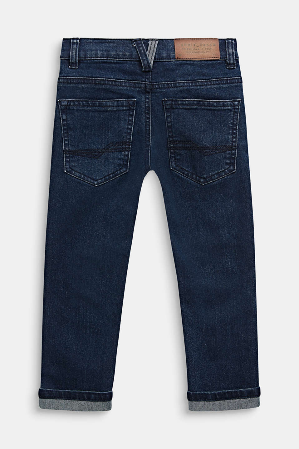 Stretch jeans with a turn-down hems, DARK INDIGO DE, detail image number 1