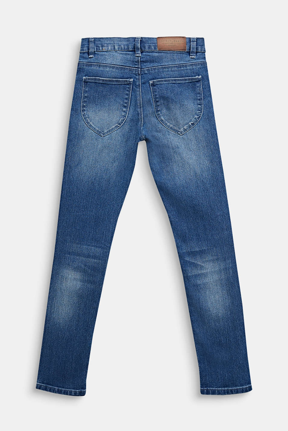 Washed stretch jeans with an adjustable waistband, LCMEDIUM WASH DE, detail image number 1