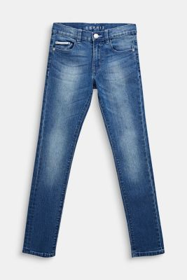 Washed stretch jeans with an adjustable waistband, LCMEDIUM WASH DE, detail