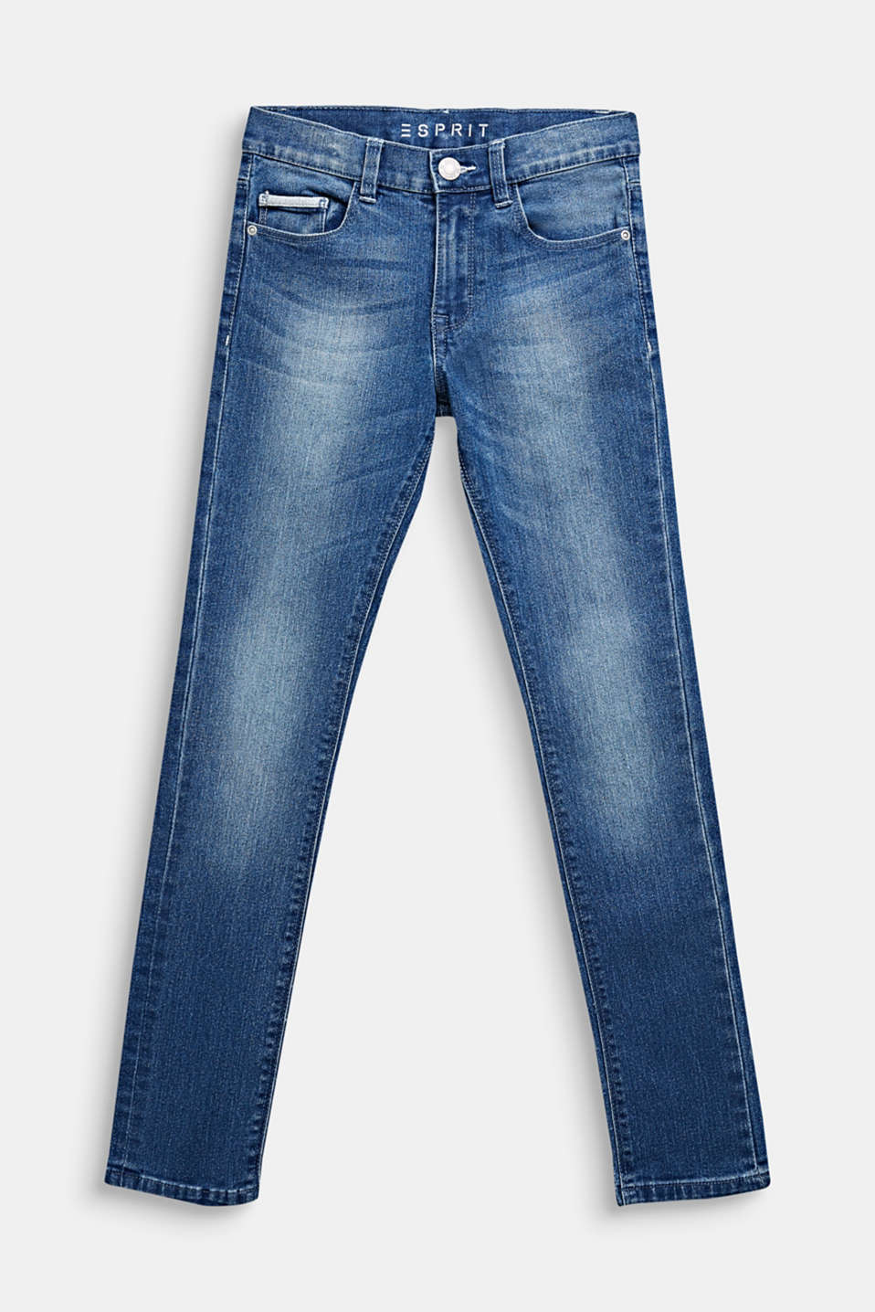 Washed stretch jeans with an adjustable waistband, LCMEDIUM WASH DE, detail image number 0