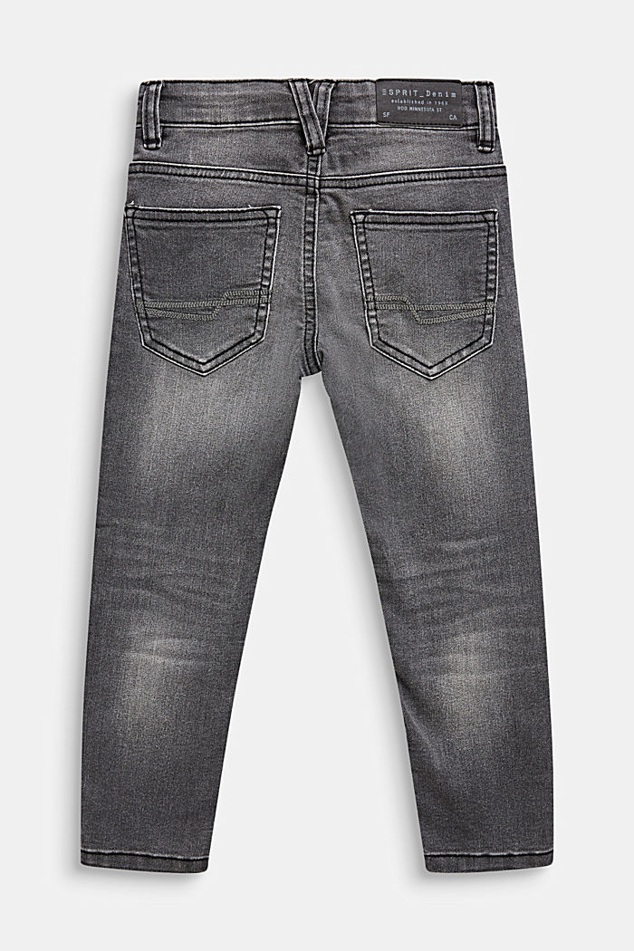 Grey stretch jeans in a garment-washed look, GREY DARK WASH, detail image number 1