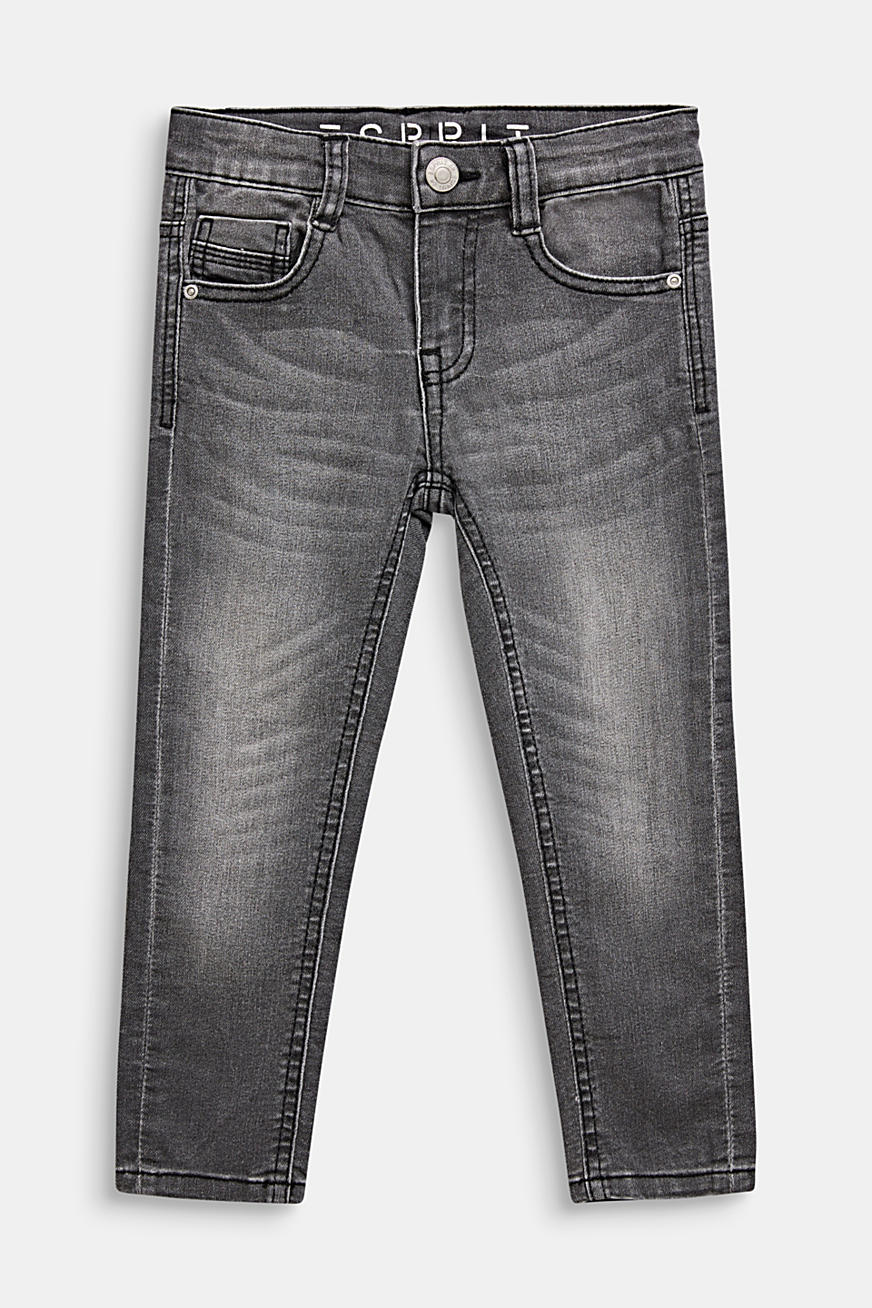 Grijze stretchjeans met garment-washed look