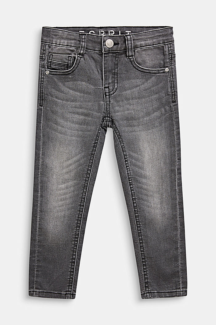 Grey stretch jeans in a garment-washed look, GREY DARK WASH, detail image number 0