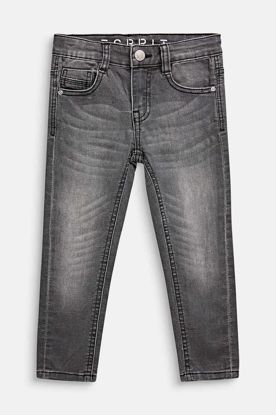 Esprit - Grijze stretchjeans met garment-washed look