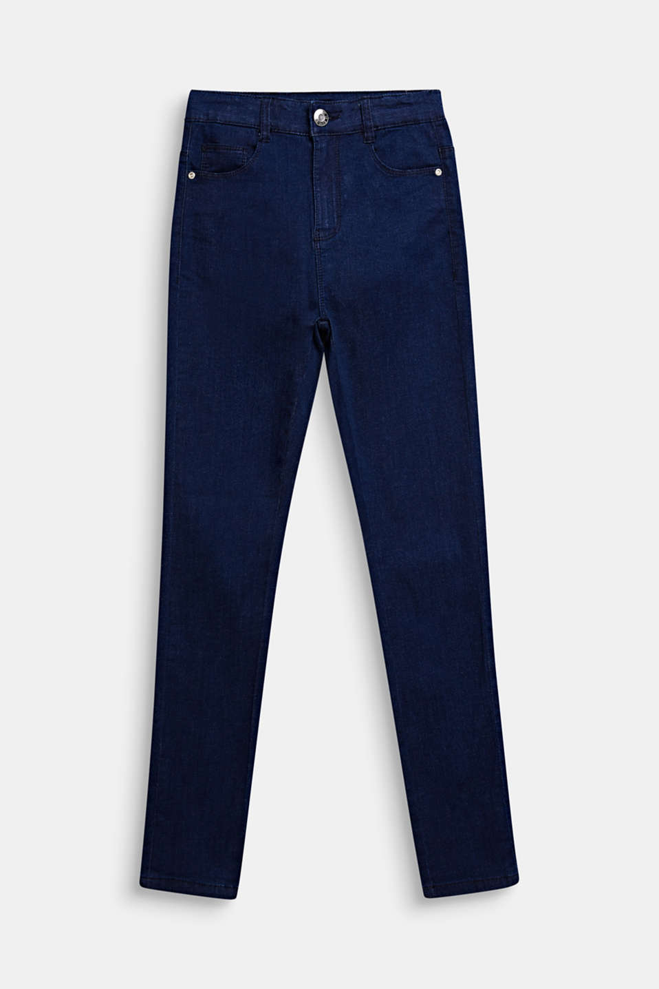 Skinny stretch jeans with an adjustable waistband, LCDARK INDIGO DE, detail image number 0