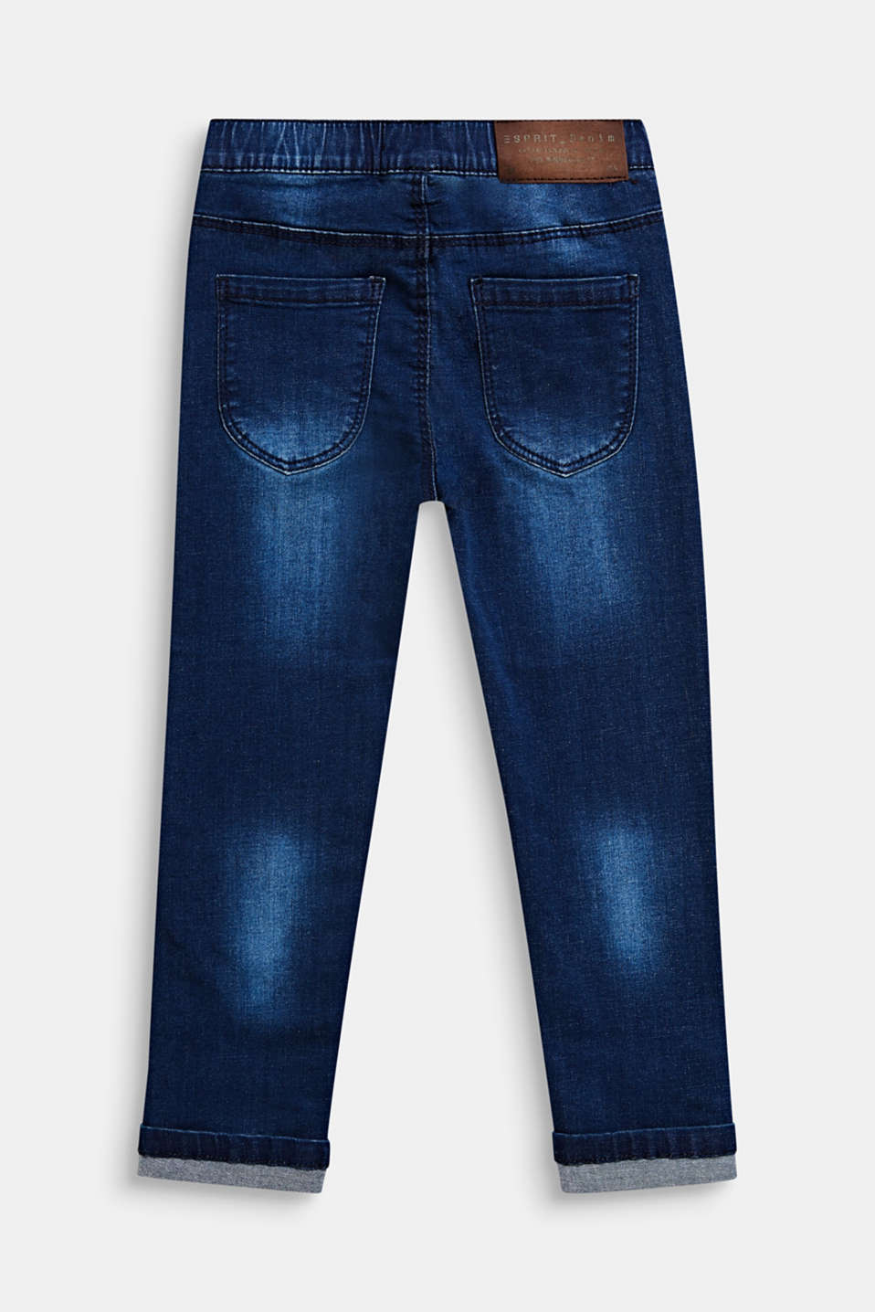 Heart pattern stretch jeans with an elasticated waistband, DARK INDIGO DE, detail image number 1