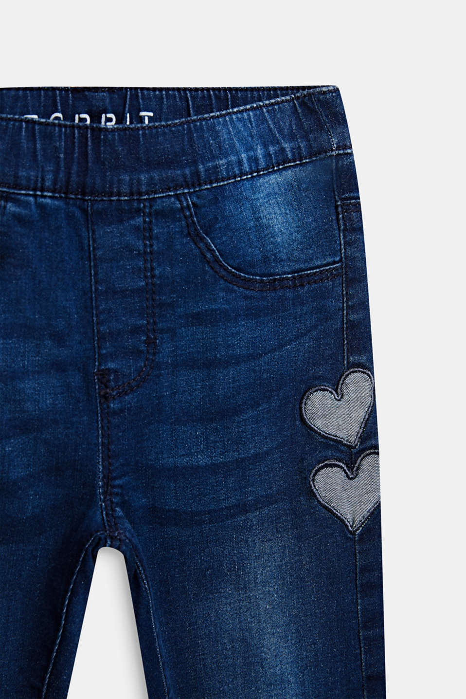 Heart pattern stretch jeans with an elasticated waistband, DARK INDIGO DE, detail image number 2
