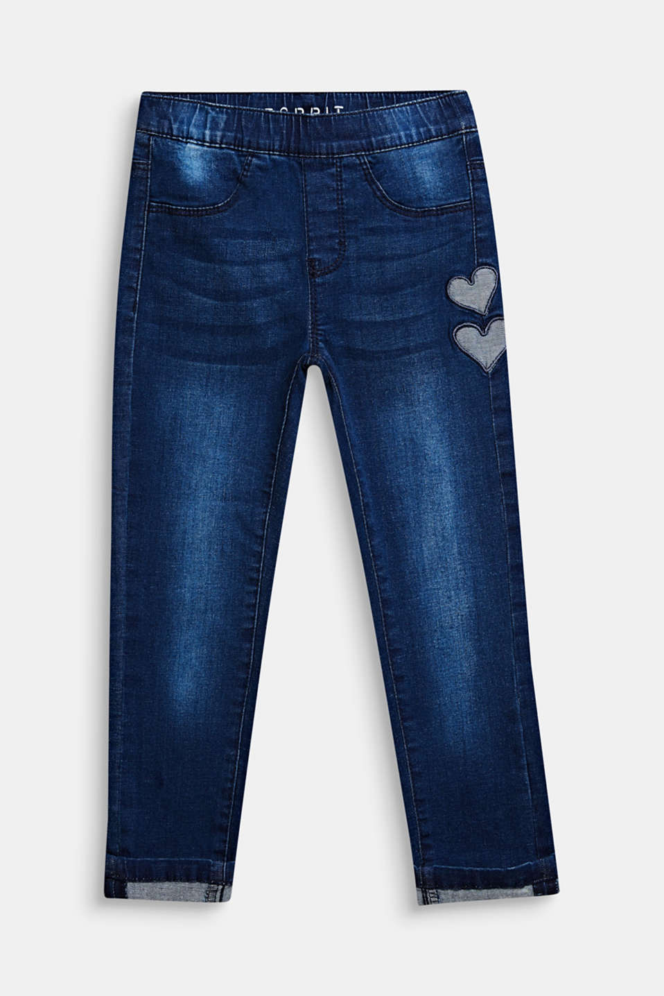 Heart pattern stretch jeans with an elasticated waistband