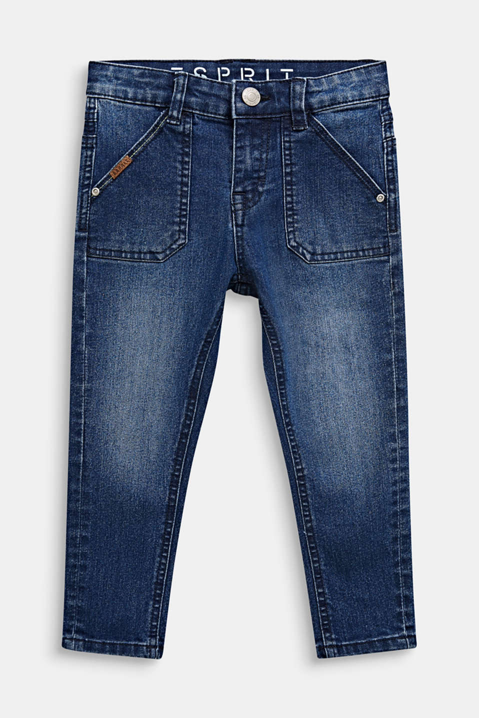 Stretch jeans with patch pockets, MEDIUM WASH DE, detail image number 0