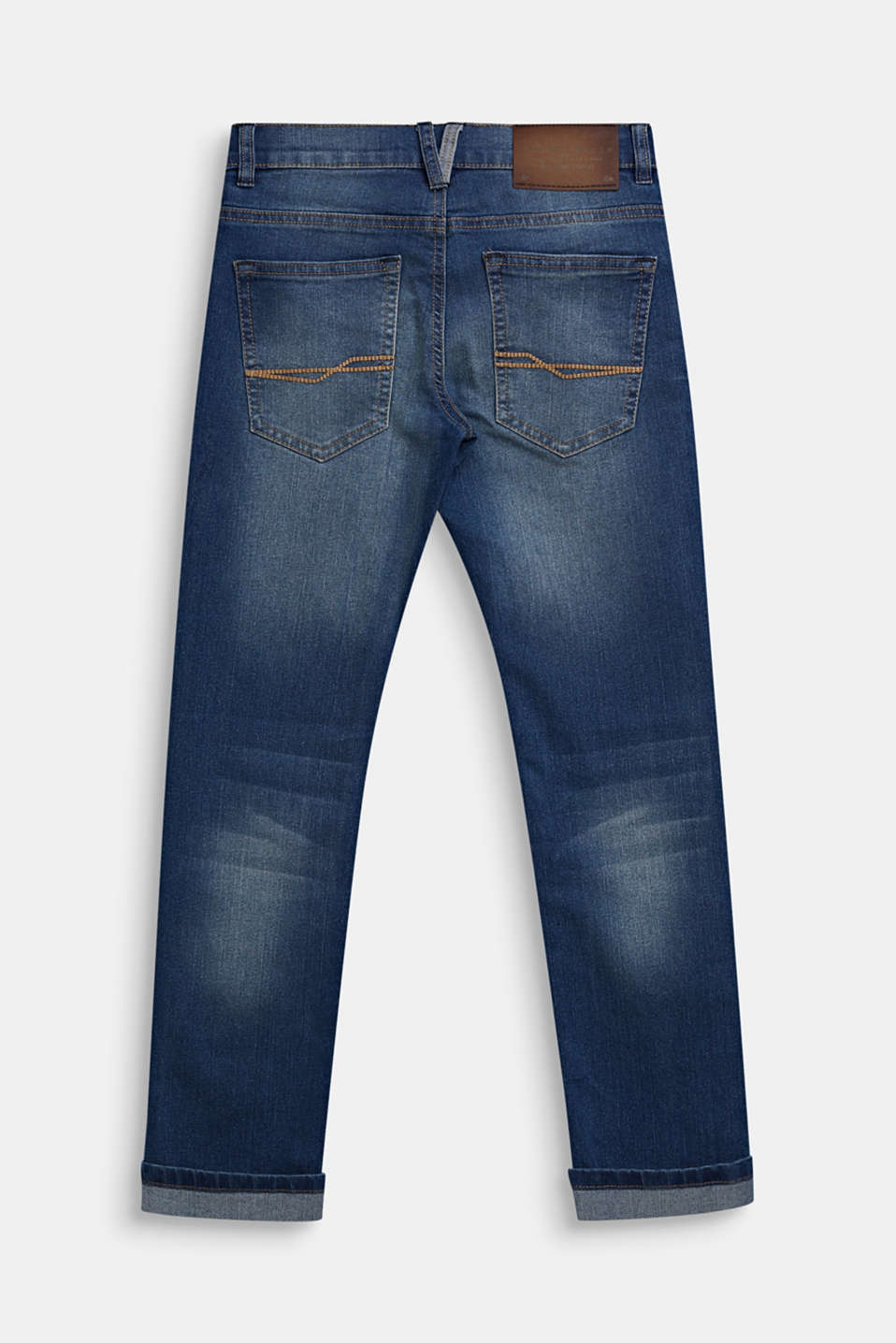 Jeans in a garment-washed look with turn-up hems, LCMEDIUM WASH DE, detail image number 1