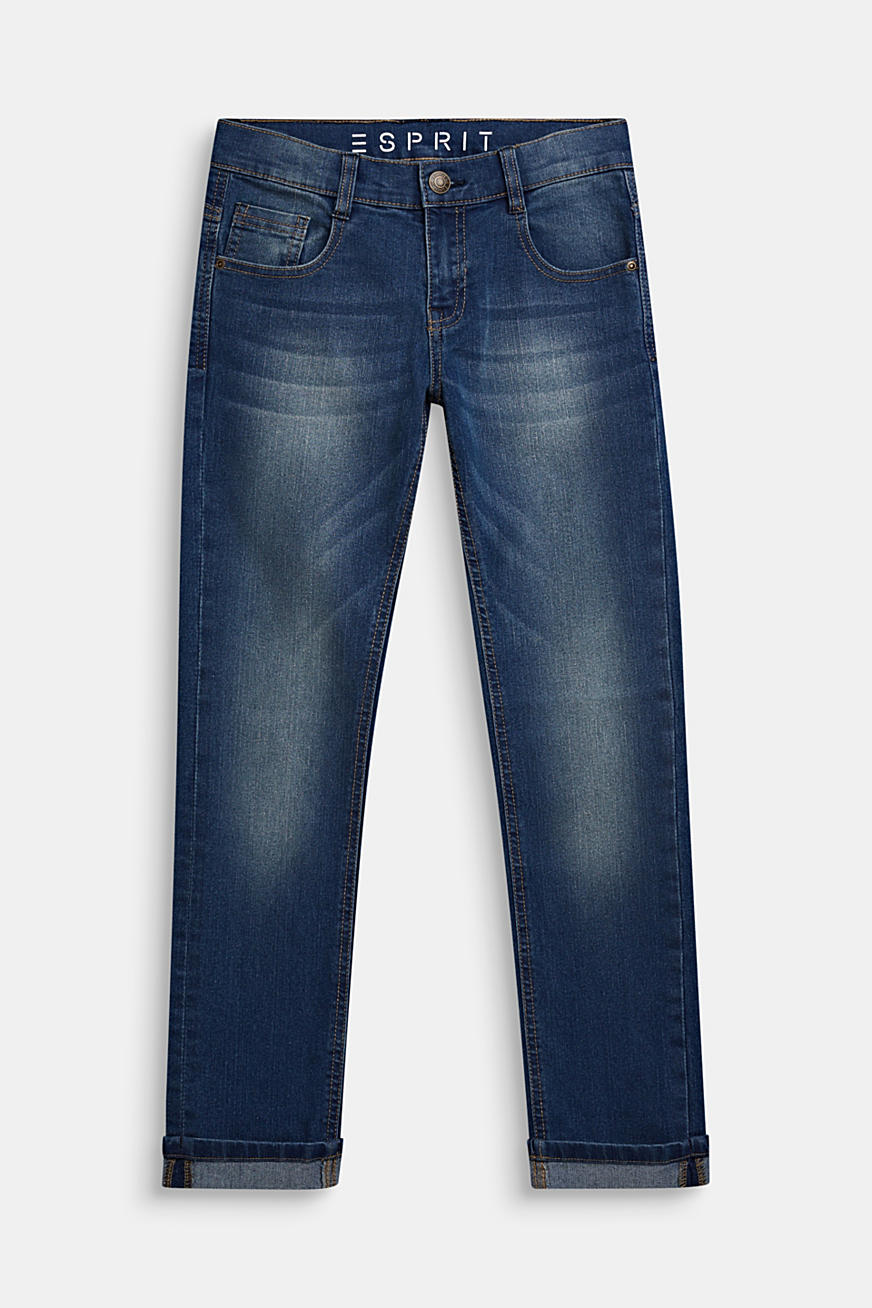 Jeans in a garment-washed look with turn-up hems
