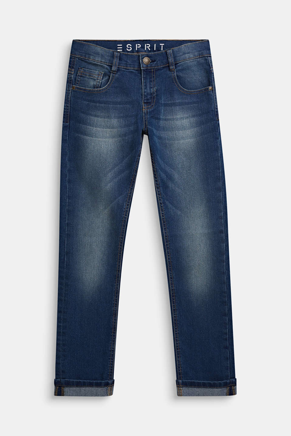 Jeans in a garment-washed look with turn-up hems, LCMEDIUM WASH DE, detail image number 0