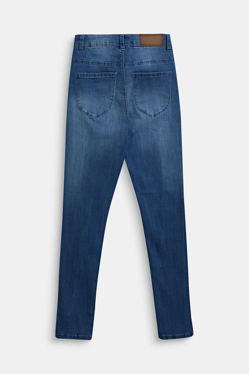 Stretch jeans with a high-rise, adjustable waistband, LCLIGHT INDIGO D, detail image number 1