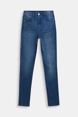 Stretch jeans with a high-rise, adjustable waistband, LCLIGHT INDIGO D, detail