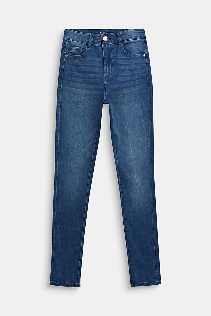 Stretch jeans with a high-rise, adjustable waistband