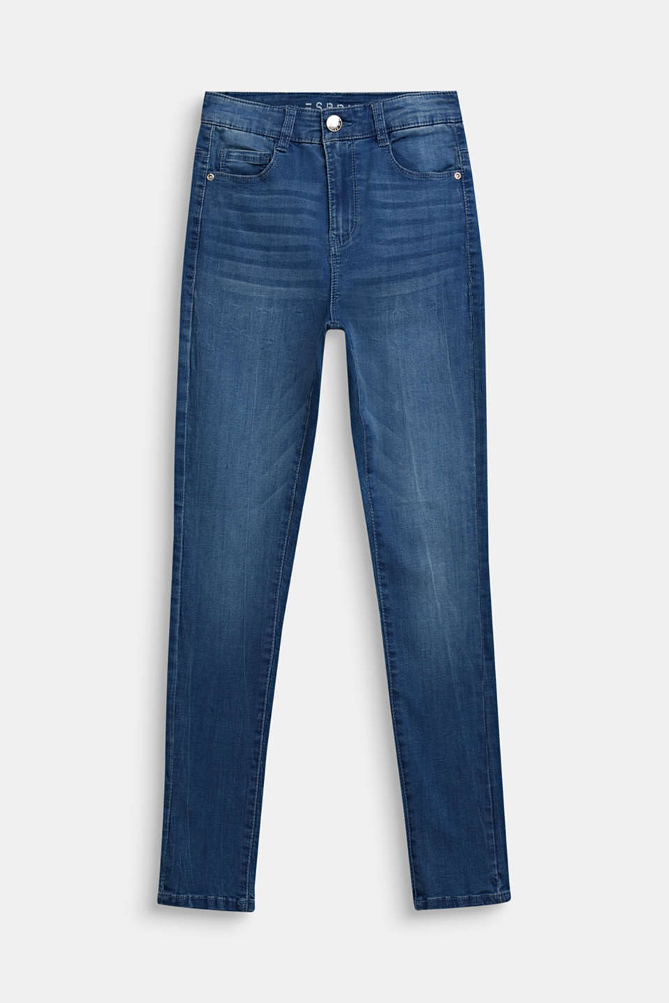 Stretch jeans with a high-rise, adjustable waistband, LCLIGHT INDIGO D, detail image number 0