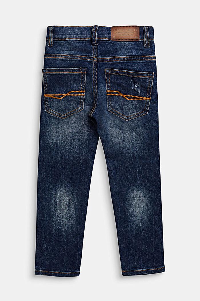 Washed stretch jeans with an adjustable waistband, DARK INDIGO DENIM, detail image number 1