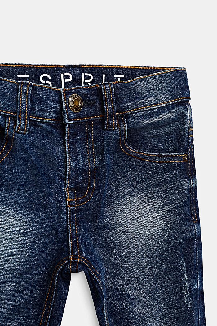 Washed stretch jeans with an adjustable waistband, DARK INDIGO DENIM, detail image number 2