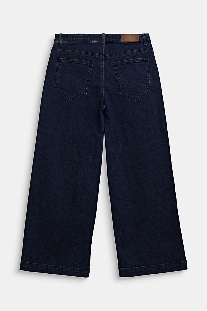 Ankle-length culottes made of stretch denim, RINSE WASH DENIM, detail image number 1